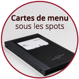 Cartes de menu sous les spots